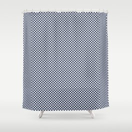 Dark Sargasso Blue and White Mini Check 2018 Color Trends Shower Curtain