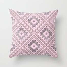Gold lace, pink Throw Pillow