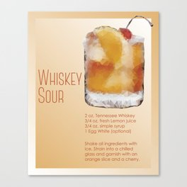 Classic Whiskey Sour Recipe Low Poly Abstract Digital Art / Bar Art Canvas Print
