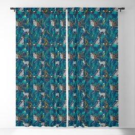 Lemurs on Blue Blackout Curtain