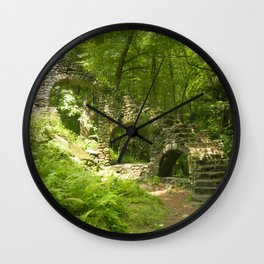 Castle Ruins in the Forest Wall Clock