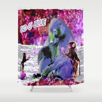dad Shower Curtains featuring DAD-O BLUE by CrismanArt