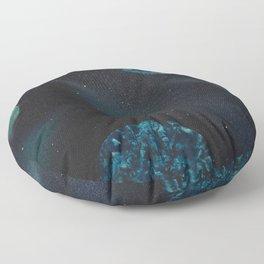 Blue Planets Spacescape - Spray Paint Art Floor Pillow