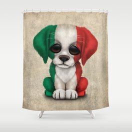 Cute Puppy Dog with flag of Italy Shower Curtain