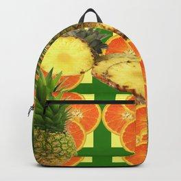 PINEAPPLES & ORANGE FRUIT SLICES  GREEN DESIGN Backpack