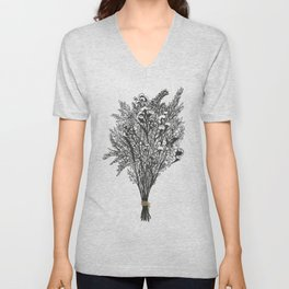 Dry Bouquet with Gold String Unisex V-Neck