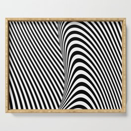 Black and White Pop Art Optical Illusion Lines Serving Tray