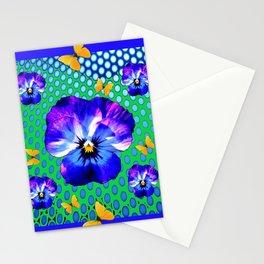 PURPLE SPRING PANSIES GOLDEN BUTTERFLIES BLUE-GREEN ART Stationery Cards