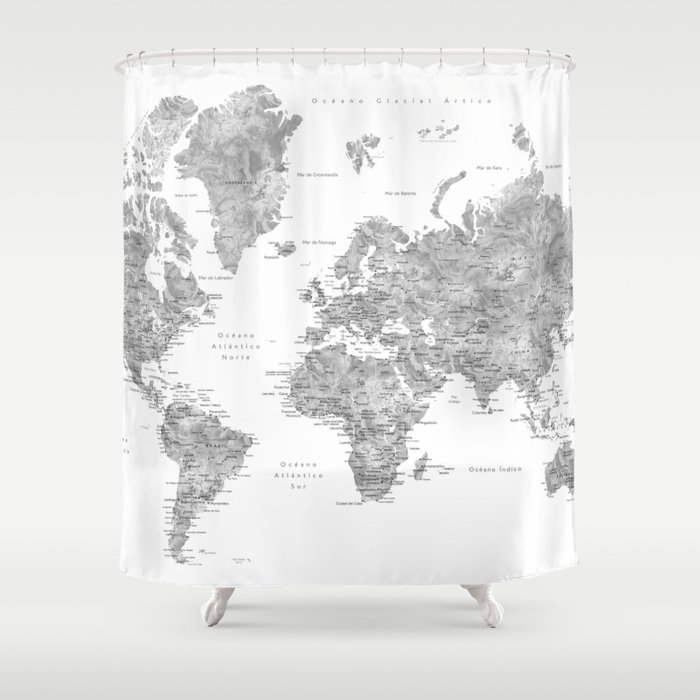World map with labels in spanish, gray watercolor Shower Curtain by ...