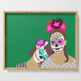 Sugar Skull Halloween Girls Green Serving Tray