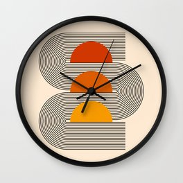 Abstraction_NEW_SUNSET_SUNRISE_LINE_ART_022AA Wall Clock