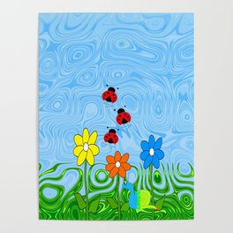 Lady Bugs On A Summer Day Poster