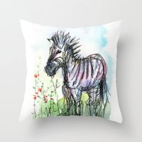 zebra Throw Pillows featuring Zebra by Olechka