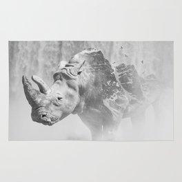 Rhino Photography | Animal |  Landscape | Abstract | Niagara Falls | Nature | Black and White Rug