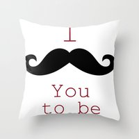 moustache Throw Pillows featuring Moustache by Natalie Reed
