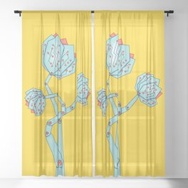 Electronic Flowers Circuit Board Petals Sheer Curtain