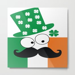Irish mustache man st.Patty's day Metal Print
