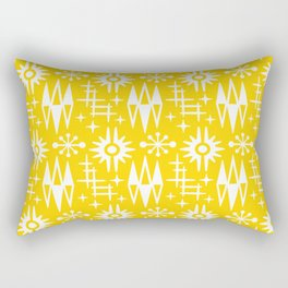 Mid Century Modern Atomic Space Age Pattern Yellow Rectangular Pillow