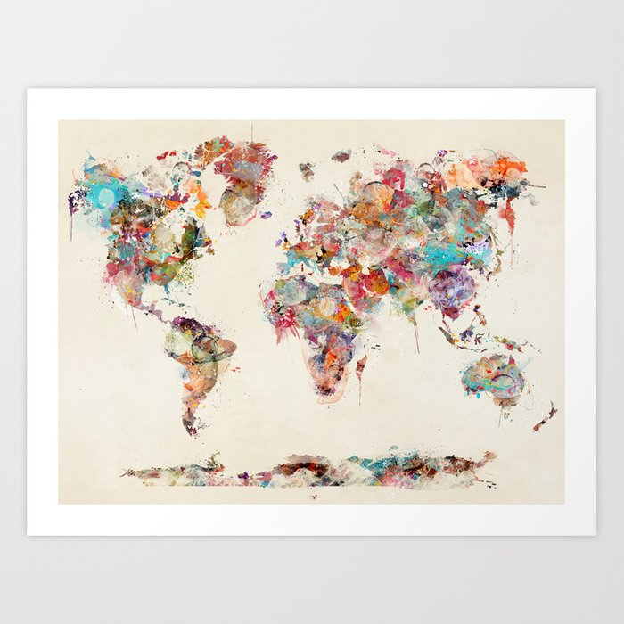 world map watercolor deux Kunstdrucke