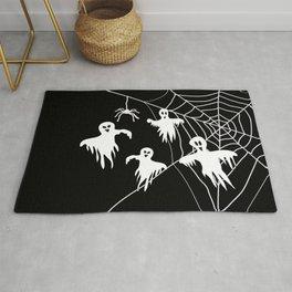 White Ghosts spider web Black background Rug