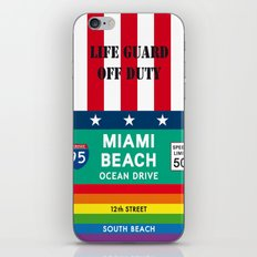Miami Beach Vintage Print Poster Decoration iPhone & iPod Skin