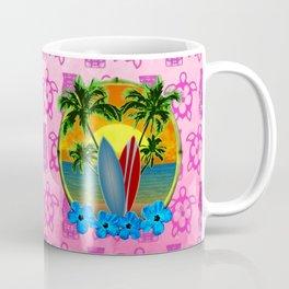 Pink Tikis Sunset And Surfboards Coffee Mug