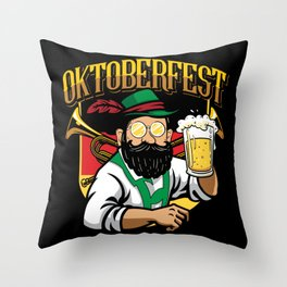 Oktoberfest Man Beer Throw Pillow