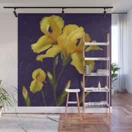 Irises in Yellow Wall Mural