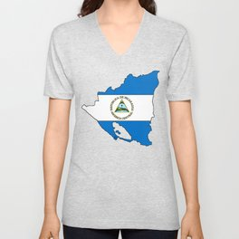 Nicaragua Map with Nicaraguan Flag Unisex V-Neck
