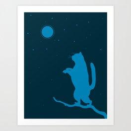 Sleepwalker. Cat illustration Art Print