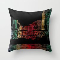 cincinnati Throw Pillows featuring Cincinnati Nights by Tambergal