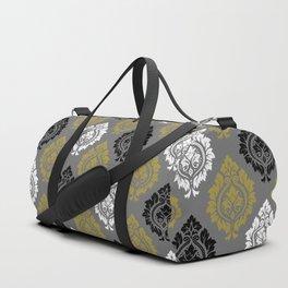 Decorative Damask Pattern BW Gray Gold Duffle Bag