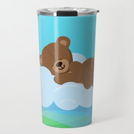 Teddy Bear & clouds , Nursery Travel Mug
