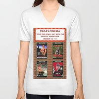 cinema V-neck T-shirts featuring VEGAS CINEMA!!! by Party Dragon