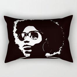 Cool Afro on Black Rectangular Pillow