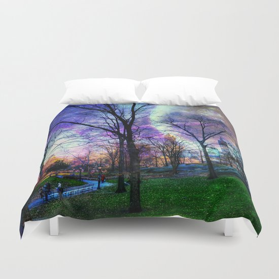 Planets in Central Park Duvet Cover