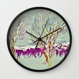 Winter Trees Purple Teal Gold Buffalo by CheyAnne Sexton Wall Clock