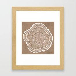 Tree Rings – White Ink on Kraft Framed Art Print