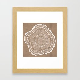 Tree Rings – White Ink on Kraft Framed Art Print