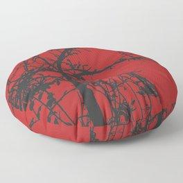 Creepy tree silhouette, black on red Floor Pillow