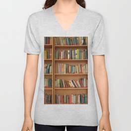 Bookshelf Books Library Bookworm Reading Unisex V-Neck