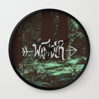 wander Wall Clocks featuring Wander by Leah Flores