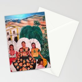 Zapotec Women and Indigenous Dress, Tehuantepec, Isthmus Region, Oaxaca, Mexico portrait painting Stationery Cards