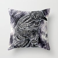 raven Throw Pillows featuring Raven by BIOWORKZ