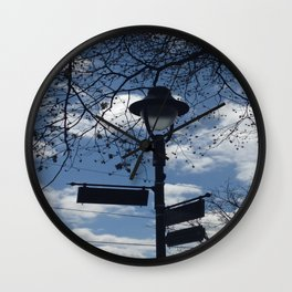 Maplewood - Sign post - blue sky Wall Clock