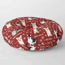 Merry Corgmess- Little Corgi Dogs Celebrate Christmas Floor Pillow