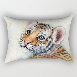 Tiger Cub Watercolor Rectangular Pillow