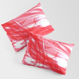 Red and smooth sparkling lines of pink ribbons on the theme of space and abstraction. Pillow Sham