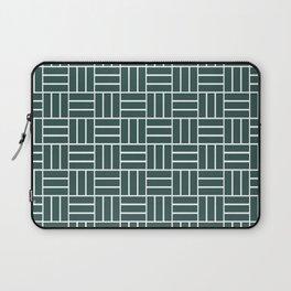 Basketweave (White & Dark Green Pattern) Laptop Sleeve