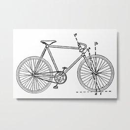 Bicycle Blueprint Metal Print